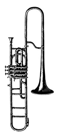 Trombone A Piston can produce with equal facility the seven series of harmonies belonging to the common horns, vintage line drawing or engraving illustration. Ilustração