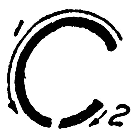 Inclined Capital Letter C using proper strokes, vintage line drawing or engraving illustration.