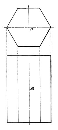 An image showing the projection diagram of a hexagonal bar, vintage line drawing or engraving illustration. 矢量图像