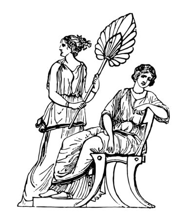 An owner sitting on the chair and the maid with a hand fan to give him air, vintage line drawing or engraving illustration.