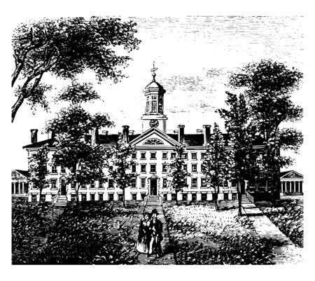 Nassau Hall is the oldest building, Princeton university, new Jersey vintage line drawing. Ilustração