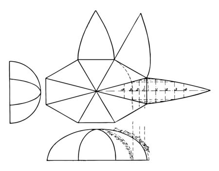 In this image shows that a detailed image of the octagonal dome with projection or divider to make five pieces of the elbow, vintage line drawing or engraving illustration.