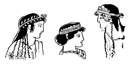 Ampyx, the head-dress worn by Greeks, vintage line drawing or engraving illustration.