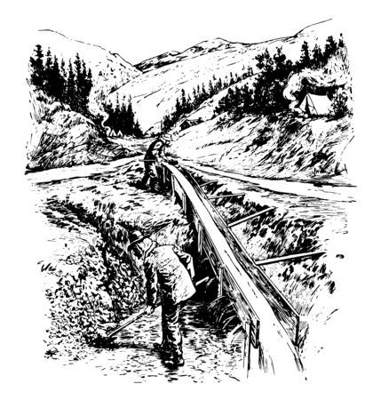 These are gold minings, tributary of klondike river. With the discovery of gold in Yukon, stampede at the klondike region occurs. It led to discovery of Dawson city  vintage line drawing.