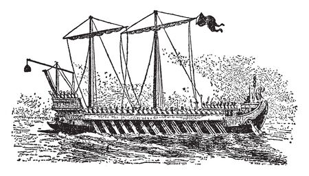 Roman galley is a type of ship that is propelled mainly by rowing, vintage line drawing or engraving illustration.