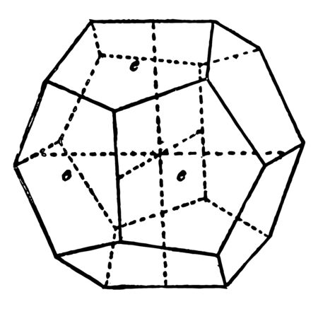 A pyritohedron diagram that is a main form of the isometric system, vintage line drawing or engraving illustration. 일러스트