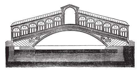 El Puente de Rialto es uno de los cuatro puentes que atraviesan el Gran Canal de Venecia, línea vintage de dibujo o ilustración de grabado.