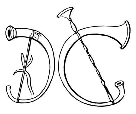 Cornu is an ancient wind instrument, vintage line drawing or engraving illustration. Standard-Bild - 132956937