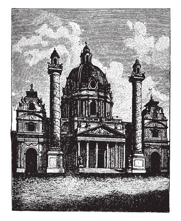 This illustration represents Church of St Charles Borromeo in Vienna in Austria, vintage line drawing or engraving illustration.