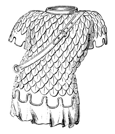 Habergeon used by soldiers during medieval times, vintage line drawing or engraving illustration.