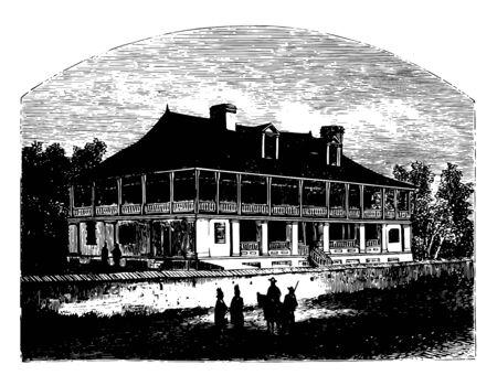 Chouteau house historical building vintage line drawing. Illustration