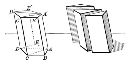 The image shows a prism used to show that the volume of any prism is equal to the product of its base by its altitude, vintage line drawing or engraving illustration. Иллюстрация