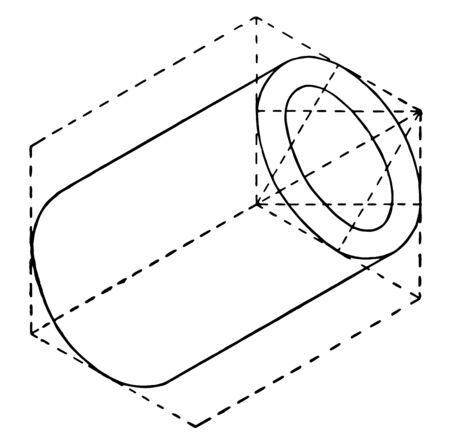 The image shows the hollow cylinder. It is the process of developing the isometric of a hollow cylinder together with an elliptical base, vintage line drawing or engraving illustration.