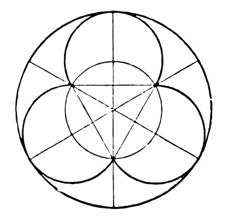 A radius is the distance between the center of a circle and its edge. If there is some kind of balance based on a circle with its design extending from the center it is called radial design, vintage line drawing or engraving illustration.