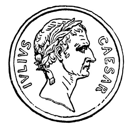 Currency that carries the image of Cesar having recorded words like IVLIVS and CAESAR, vintage line drawing or engraving illustration.