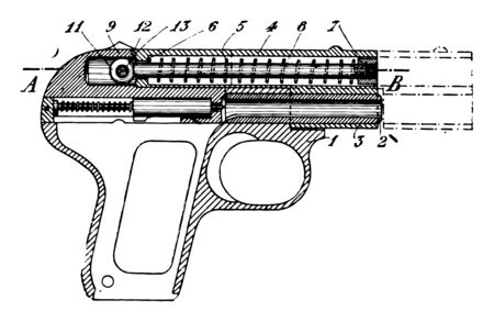 Automatic Pistol with the other hand optionally supporting the shooting hand, vintage line drawing or engraving illustration.