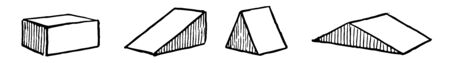 The image shows different types of oblique prisms: rectangular, right triangular, triangular acute and triangular obtuse, vintage line drawing or engraving illustration.