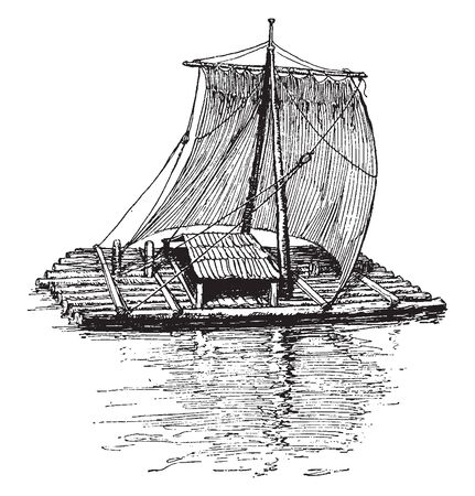 Raft is any flat structure for support or transportation over water, vintage line drawing or engraving illustration.