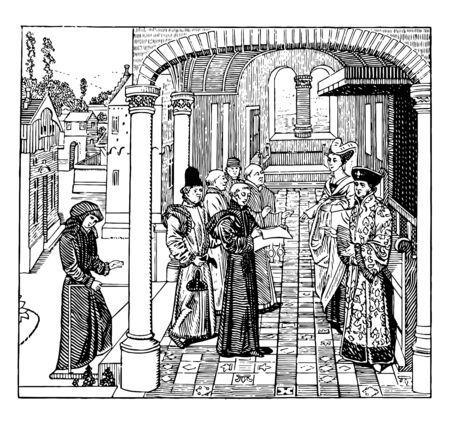 """Count or Countess es un título en los países europeos. Anterior en el Imperio Romano, desde el siglo VII en adelante, """"Conde"""" es una ilustración especial de dibujo o grabado de línea vintage. Ilustración de vector"""