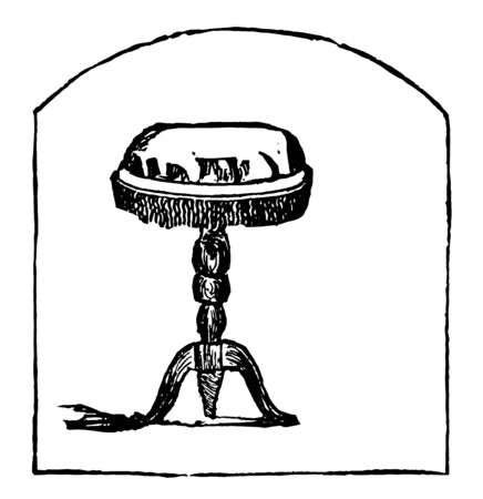 Music stool used as a seat while playing the piano and generally constructed so it can be raised or lowered by means of a screw, vintage line drawing or engraving illustration.  イラスト・ベクター素材