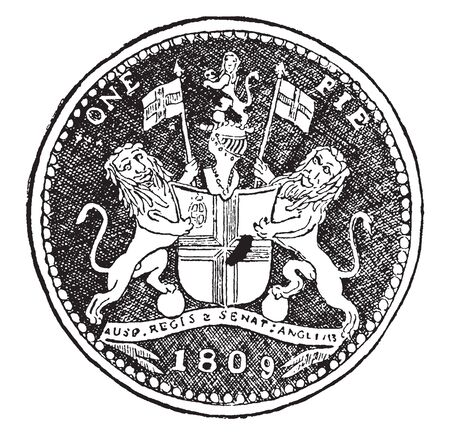 Pie which is the smallest Anglo Indian copper coin, vintage line drawing or engraving illustration. 向量圖像
