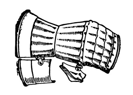 Mitten superseded the gauntlet of the 14th century, vintage line drawing or engraving illustration.