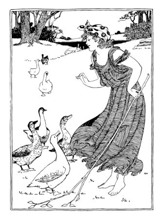 Picture of a beautiful girl playing with Geese, vintage line drawing or engraving illustration.