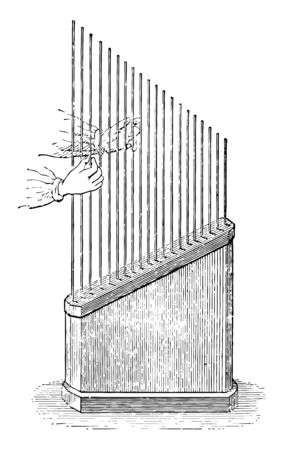 Marloye Harp used to show longitudinal vibrations in rods, vintage line drawing or engraving illustration. Stock Illustratie