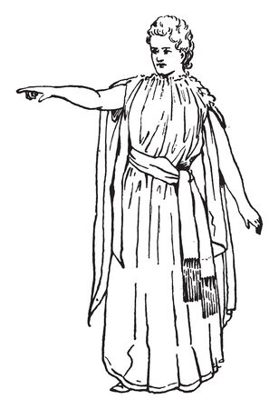 A woman raising right hand and pointing, a gesture of designating, vintage line drawing or engraving illustration