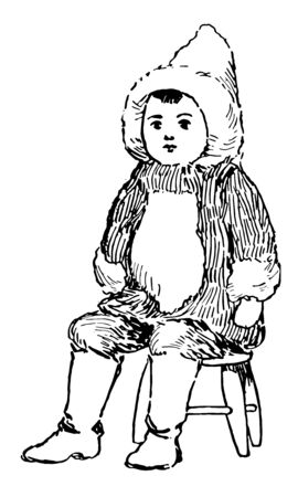 Reindeer fur Alaska doll or eskmo doll are made up of soap stone and bone material vintage line drawing. Фото со стока - 133428278