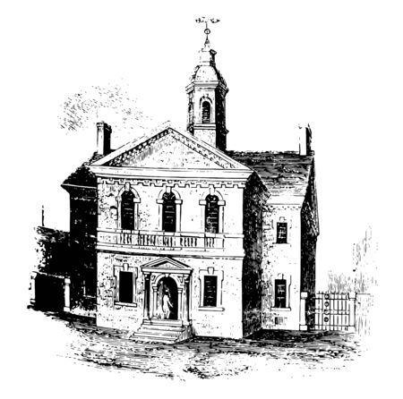 Carpenter's Hall to zabytkowy dwupiętrowy budynek w stylu vintage z rysunkiem linii.