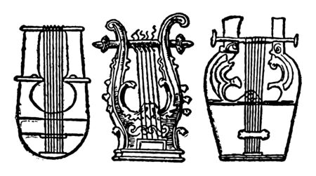 Greek lyres is similar in appearance to a small harp but with distinct differences, vintage line drawing or engraving illustration. 일러스트