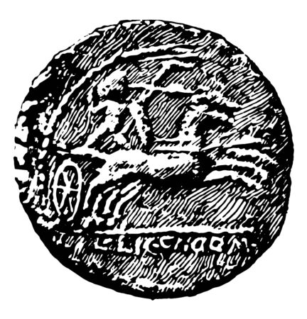Coin that has the image of a charioteer and soldier racing horse is ready to throw javelin, vintage line drawing or engraving illustration. Foto de archivo - 132958301