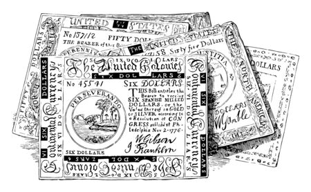 An image of Facsimile of Continental Bills. Paper currency issued by after the Revolutionary War began in 1775, vintage line drawing or engraving illustration.