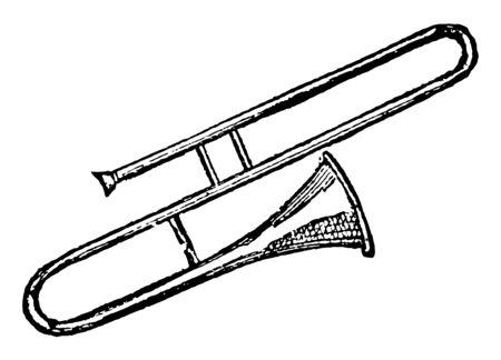 Trombone is a wind instrument of music, vintage line drawing or engraving illustration. Standard-Bild - 132957488