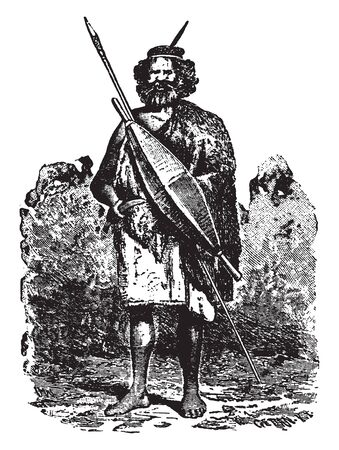 Native Victorian which is a tribesman native to the Victorian period, vintage line drawing or engraving illustration.