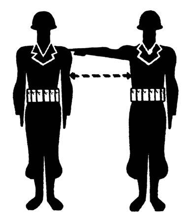This image represents Military Interval Measurement, vintage line drawing or engraving illustration. Illusztráció