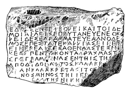 A tablet inscripted with Athenian writings, vintage line drawing or engraving illustration.