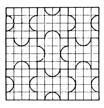 The image shows a beautiful tiling design along with a repetitive design pattern. Square in which there are 12 rows and 12 columns and each row has a bow, generates a creative design, vintage line drawing or engraving illustration.