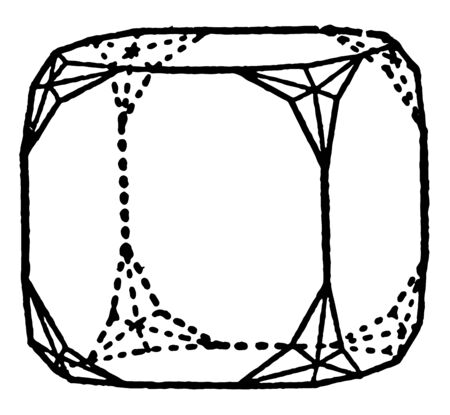 Hexakis-octahedron is solid is also limited by isosceles triangles, vintage line drawing or engraving illustration.