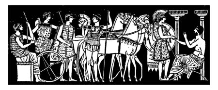 A scene from Ancient Greece with soldiers and horses, vintage line drawing or engraving illustration.
