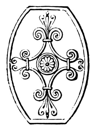 Scutum was a semi cylindrical shield used by ancient Roman legionaries, vintage line drawing or engraving illustration.