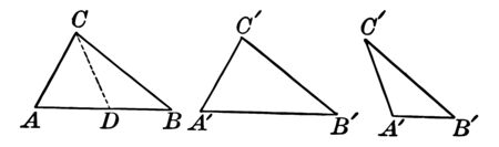 An image that shows a drawing of three equal triangles. But first triangle on the dotted line shown Segment, vintage line drawing or engraving illustration.