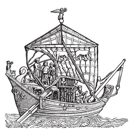 Trading Vessel is a boat or ship that transports cargo or carries passengers for hire, vintage line drawing or engraving illustration.