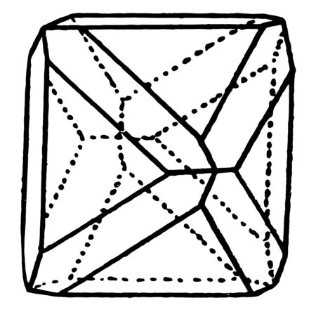 A diagram showing the combination of an octahedron and a dodecahedron, vintage line drawing or engraving illustration.