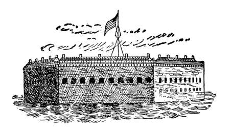 Fort Sumter formed after the war 1812 vintage line drawing. Illusztráció