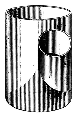 In this image there are two cylinders that intersect with the axis at the acute angle to each other, vintage line drawing or engraving illustration.