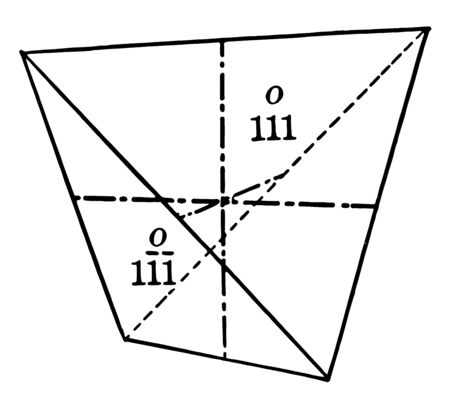 A composition of positive and negative semi-quantum units identifies the tetrahedron as a single quantum. The tetrahedron shown in the image is the direction of the negative axes, vintage line drawing or engraving illustration. Ilustração