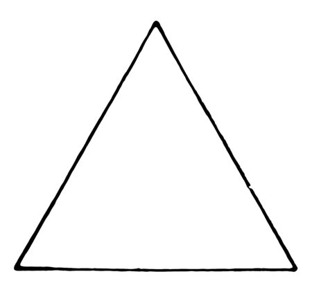An image showing equilateral triangle. All sides of this triangle are equal, vintage line drawing or engraving illustration.