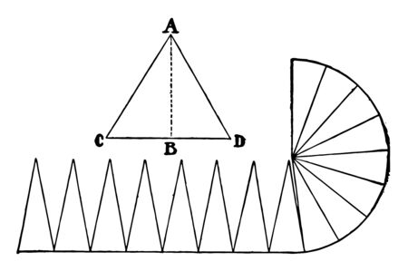 An image that shows the area of the circle with triangles where the line AB is its altitude, vintage line drawing or engraving illustration.